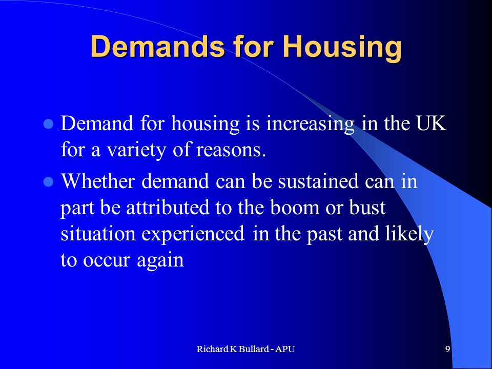 Richard K Bullard - APU30 Conclusions A range of new measures should be considered to reduce the number of empty houses still further.