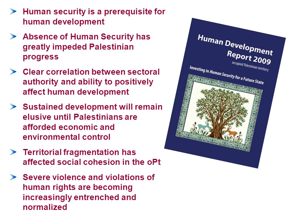 Human security is a prerequisite for human development Absence of Human Security has greatly impeded Palestinian progress Clear correlation between se