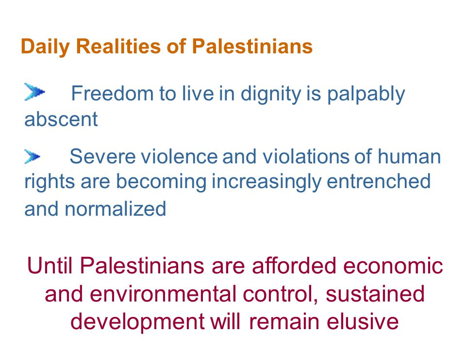 The Issue of Checkpoints The impact of the checkpoint regime on Palestinian lives is catastrophic from a human security perspective Health Security Economic Security Community Security Personal Security