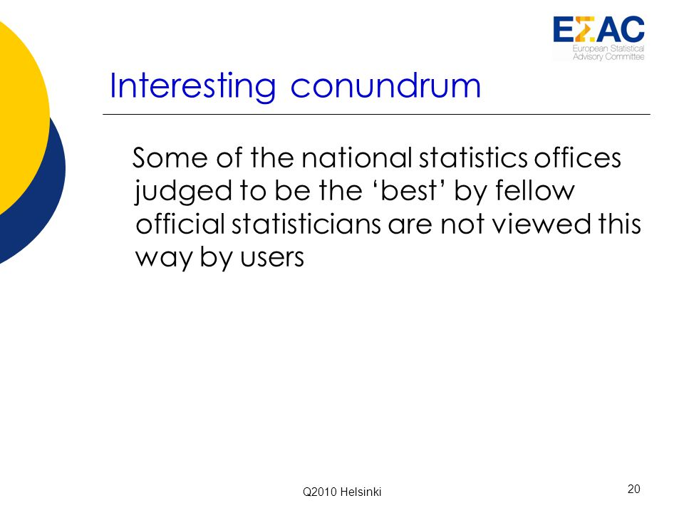 Interesting conundrum Some of the national statistics offices judged to be the 'best' by fellow official statisticians are not viewed this way by users Q2010 Helsinki 20