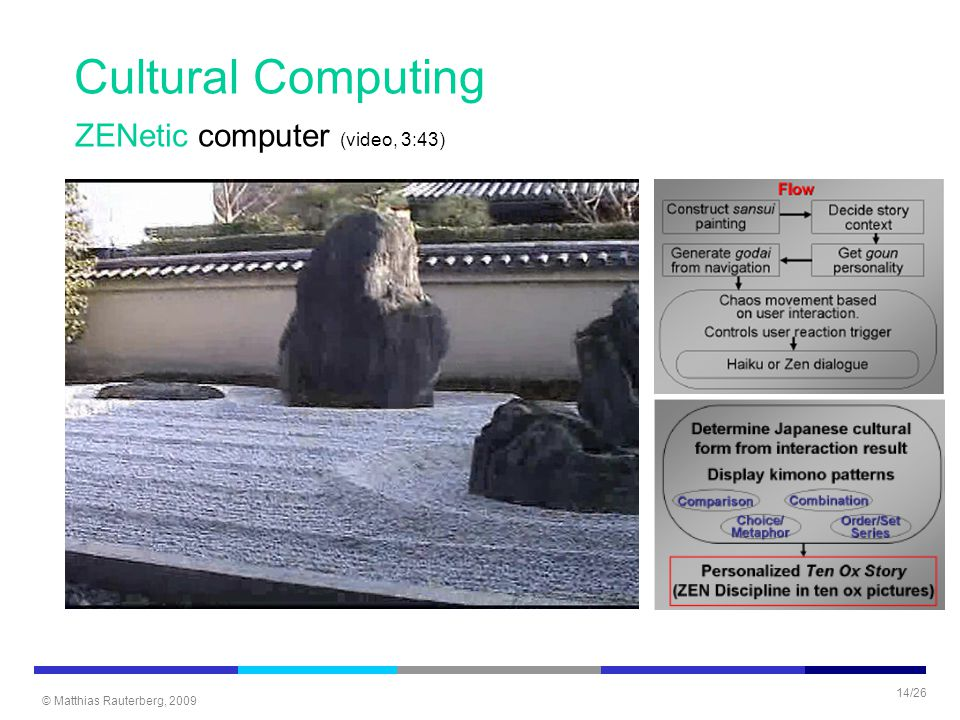 © Matthias Rauterberg, 2009 14/26 ZENetic computer (video, 3:43) Cultural Computing