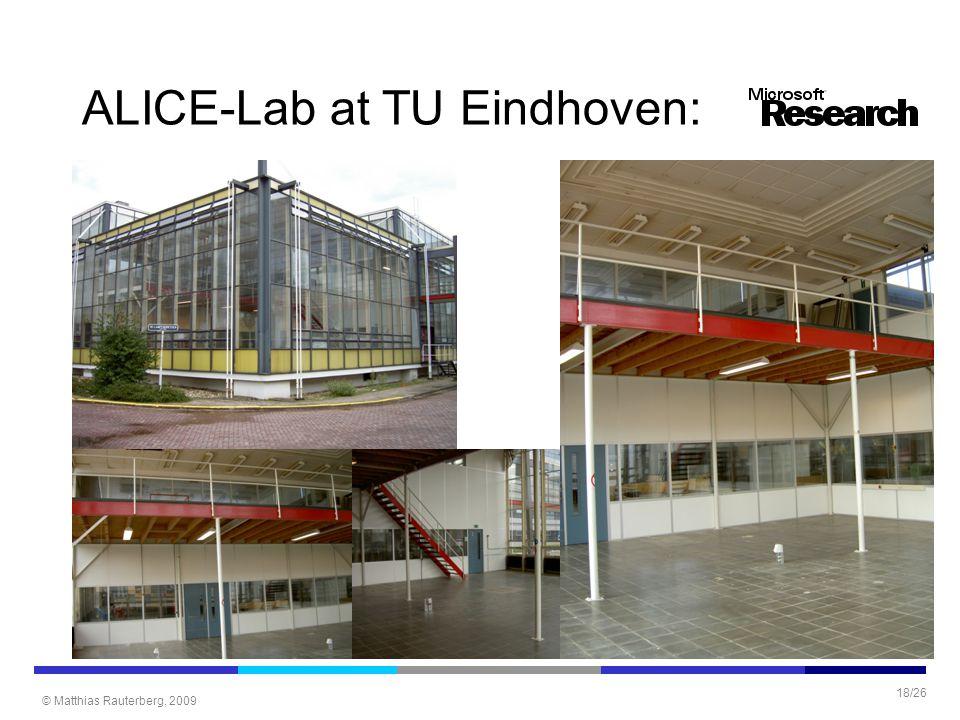 © Matthias Rauterberg, 2009 18/26 ALICE-Lab at TU Eindhoven: