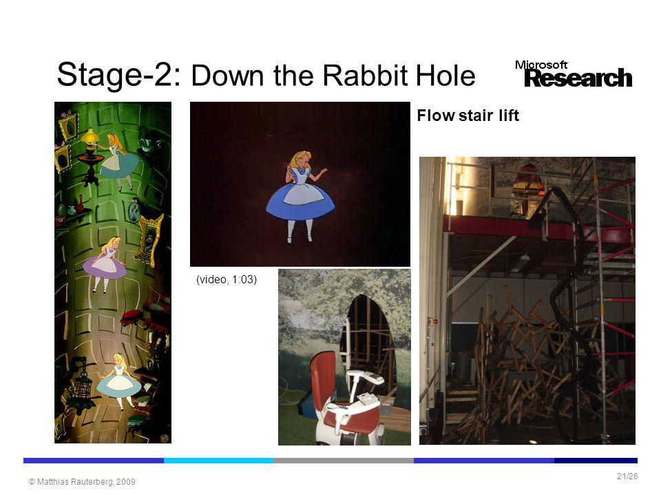 © Matthias Rauterberg, 2009 21/26 Stage-2: Down the Rabbit Hole Flow stair lift (video, 1:03)