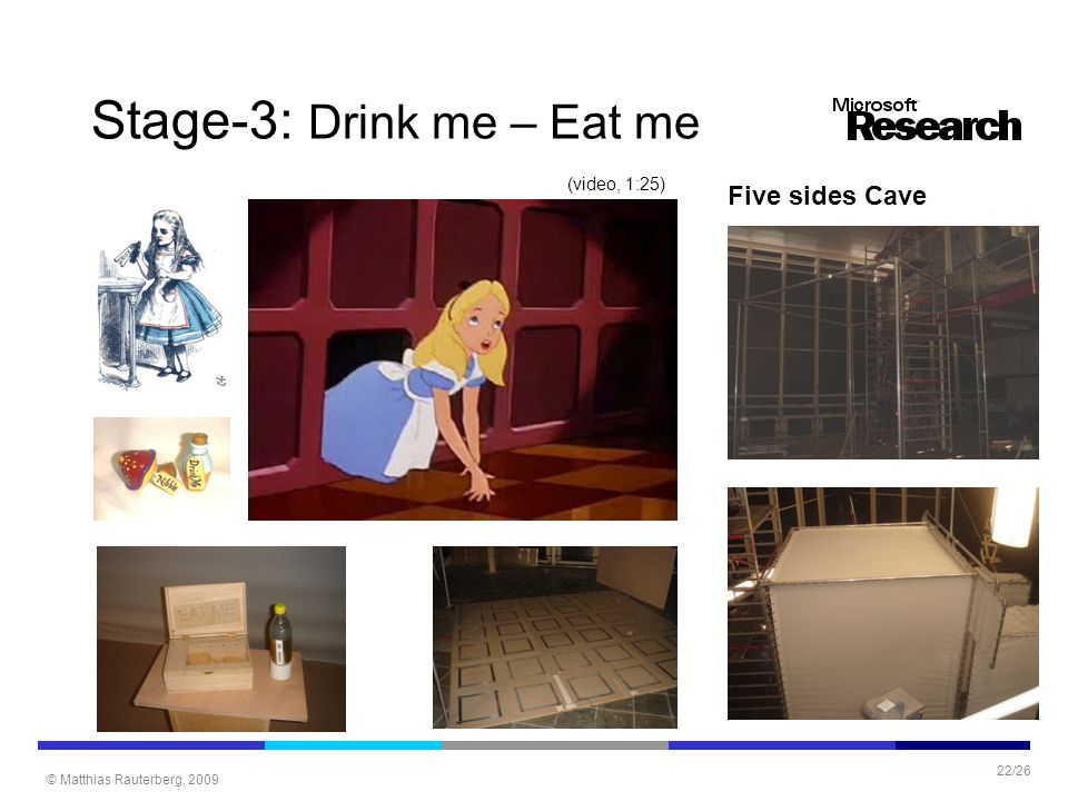 © Matthias Rauterberg, 2009 22/26 Stage-3: Drink me – Eat me Five sides Cave (video, 1:25)