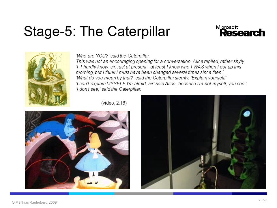 © Matthias Rauterberg, 2009 23/26 Stage-5: The Caterpillar 'Who are YOU?' said the Caterpillar. This was not an encouraging opening for a conversation