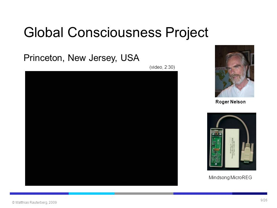 © Matthias Rauterberg, 2009 9/26 Global Consciousness Project Princeton, New Jersey, USA Roger Nelson Mindsong MicroREG (video, 2:30)