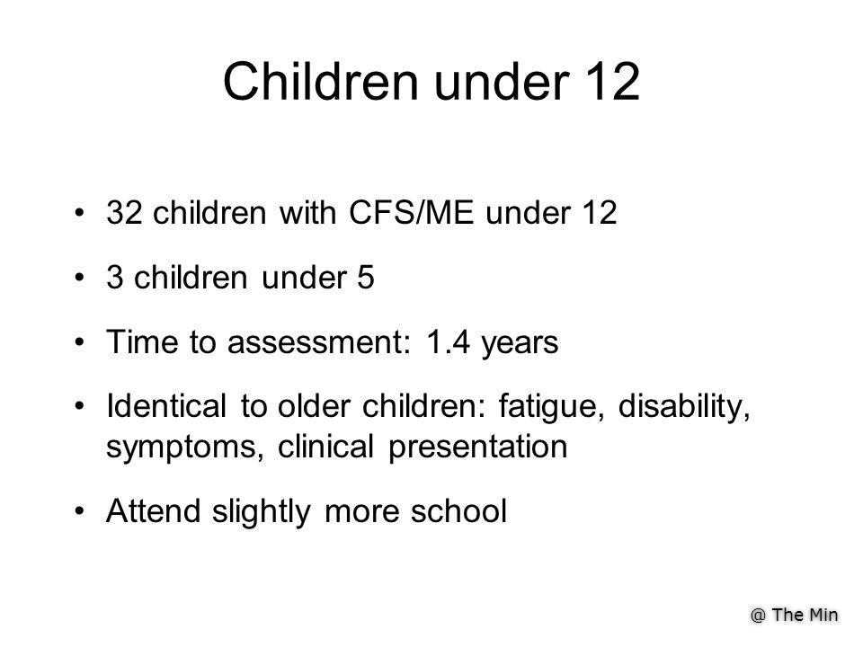 @ The Min Children under 12 32 children with CFS/ME under 12 3 children under 5 Time to assessment: 1.4 years Identical to older children: fatigue, disability, symptoms, clinical presentation Attend slightly more school