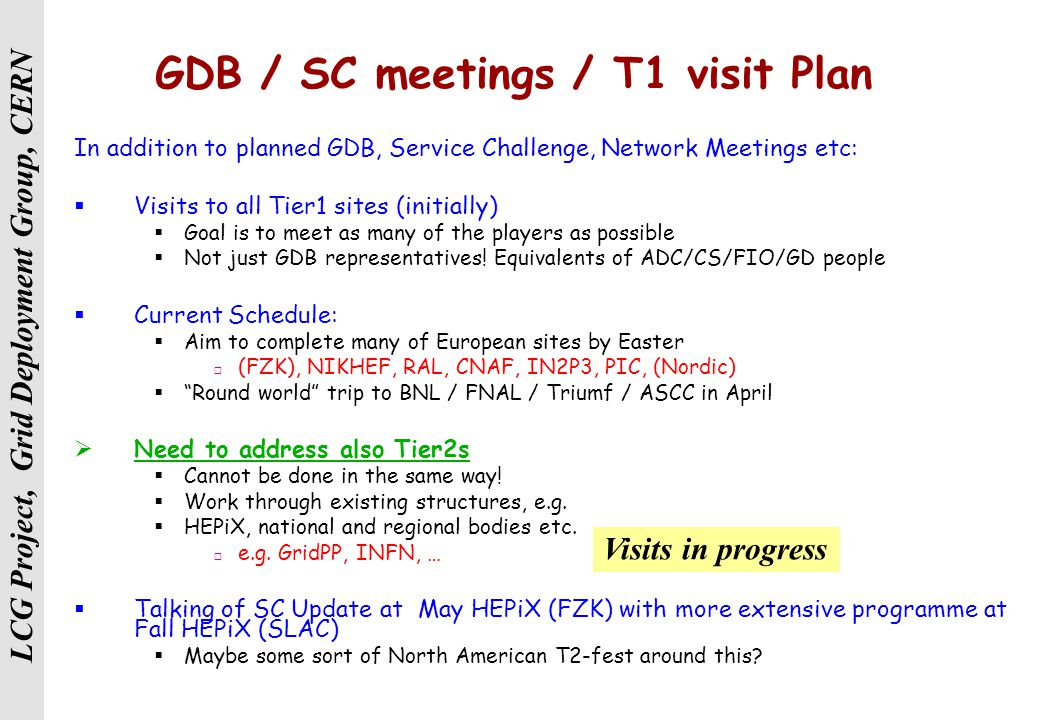 LCG Project, Grid Deployment Group, CERN GDB / SC meetings / T1 visit Plan In addition to planned GDB, Service Challenge, Network Meetings etc:  Visits to all Tier1 sites (initially)  Goal is to meet as many of the players as possible  Not just GDB representatives.