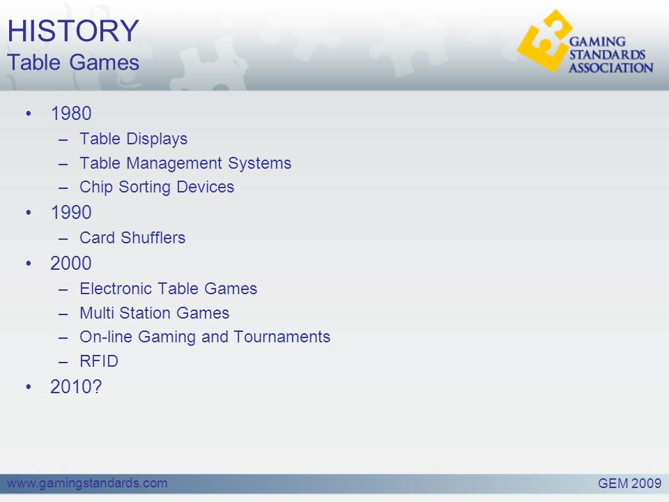 www.gamingstandards.com HISTORY Table Games 1980 –Table Displays –Table Management Systems –Chip Sorting Devices 1990 –Card Shufflers 2000 –Electronic Table Games –Multi Station Games –On-line Gaming and Tournaments –RFID 2010.