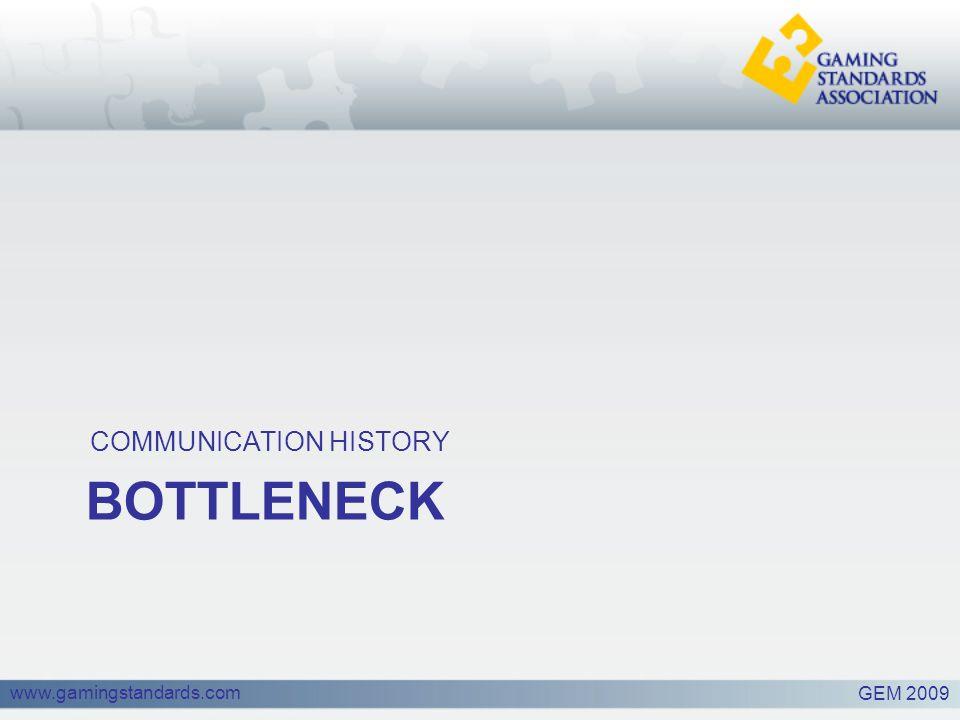 www.gamingstandards.com BOTTLENECK COMMUNICATION HISTORY GEM 2009