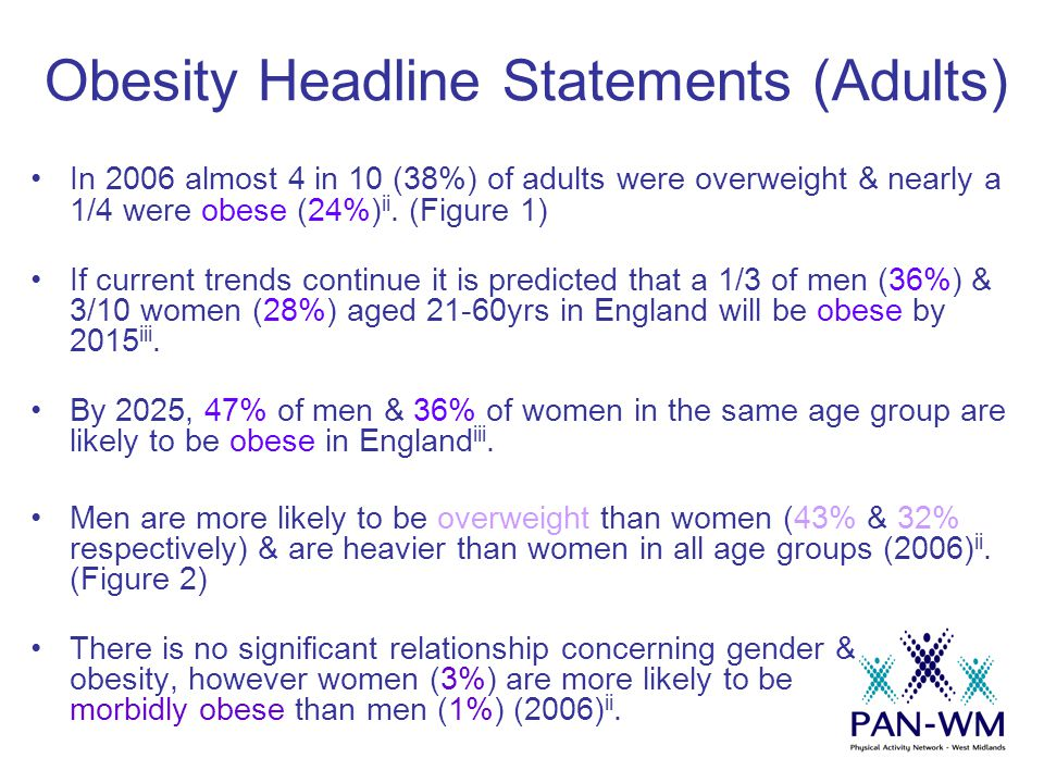 Obesity Headline Statements (Adults) 2004 data reveals that the average prevalence of overweight including obesity among European countries is 47.5% vi.