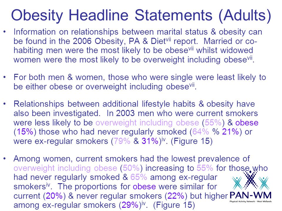 Obesity Headline Statements (Adults) Information on relationships between marital status & obesity can be found in the 2006 Obesity, PA & Diet vii report.