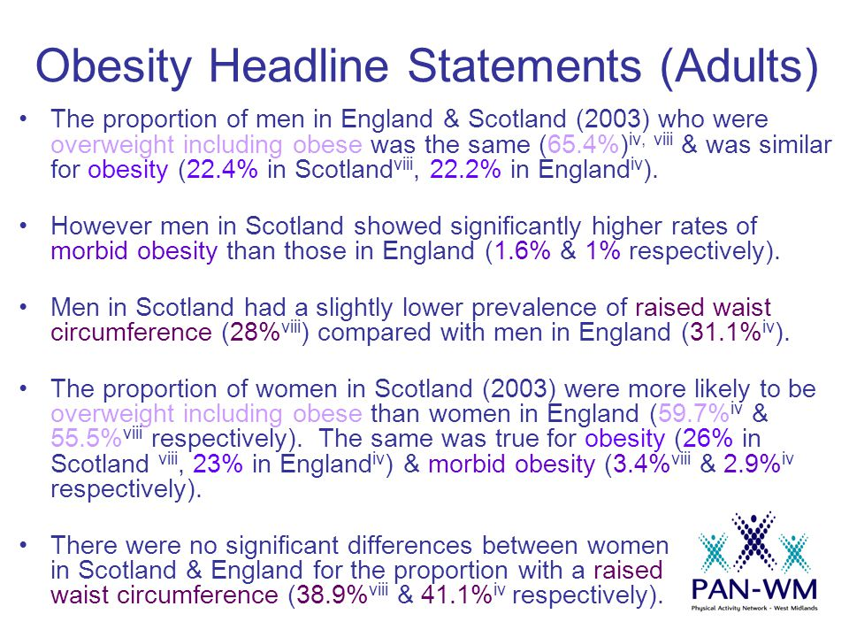 Obesity Headline Statements (Adults) The proportion of men in England & Scotland (2003) who were overweight including obese was the same (65.4%) iv, viii & was similar for obesity (22.4% in Scotland viii, 22.2% in England iv ).