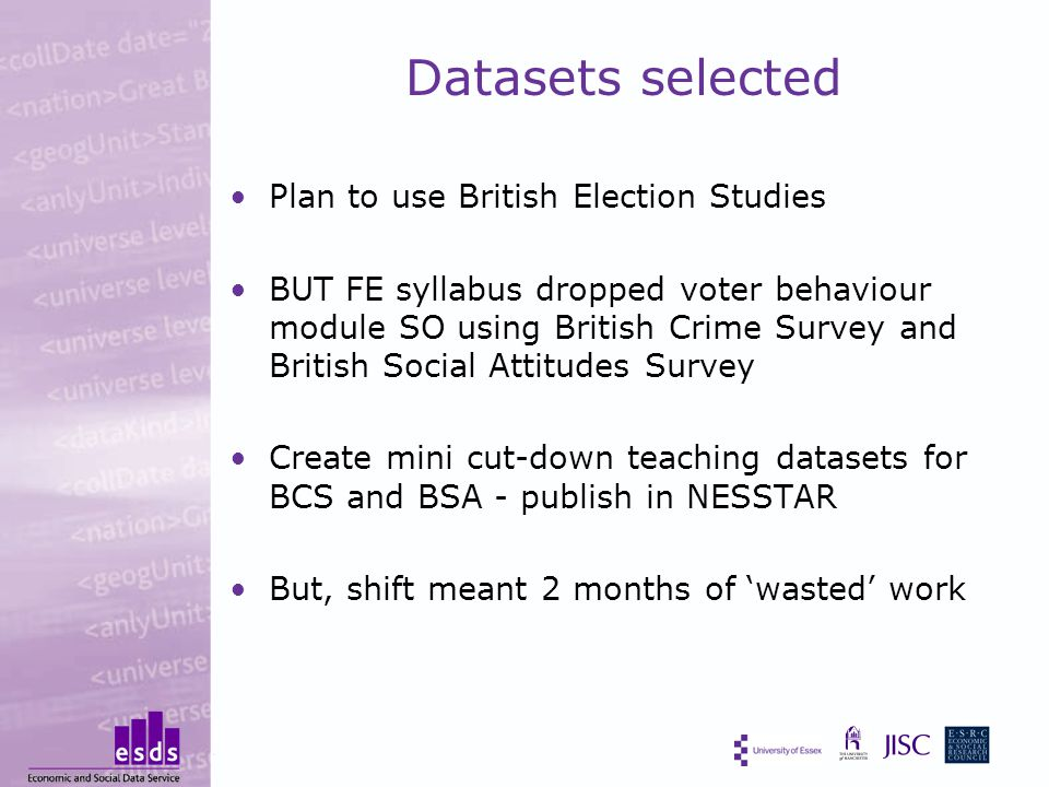 Datasets selected Plan to use British Election Studies BUT FE syllabus dropped voter behaviour module SO using British Crime Survey and British Social Attitudes Survey Create mini cut-down teaching datasets for BCS and BSA - publish in NESSTAR But, shift meant 2 months of 'wasted' work