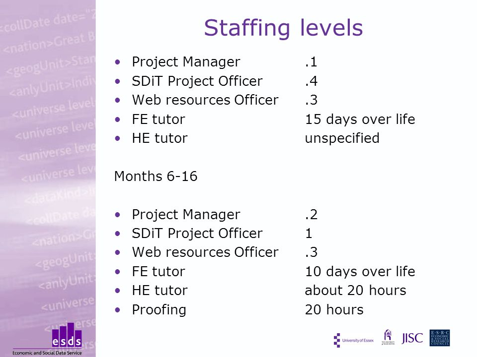 Staffing levels Project Manager.1 SDiT Project Officer.4 Web resources Officer.3 FE tutor15 days over life HE tutor unspecified Months 6-16 Project Manager.2 SDiT Project Officer 1 Web resources Officer.3 FE tutor10 days over life HE tutorabout 20 hours Proofing20 hours