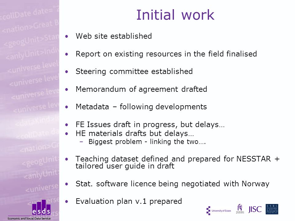 Initial work Web site established Report on existing resources in the field finalised Steering committee established Memorandum of agreement drafted Metadata – following developments FE Issues draft in progress, but delays… HE materials drafts but delays… –Biggest problem - linking the two….