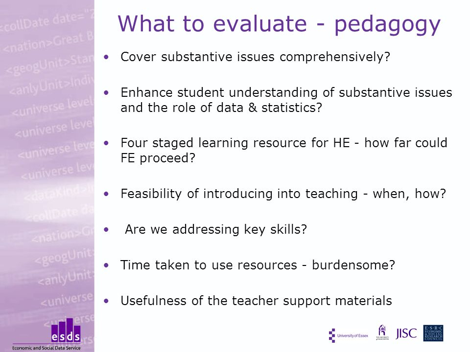 What to evaluate - pedagogy Cover substantive issues comprehensively.