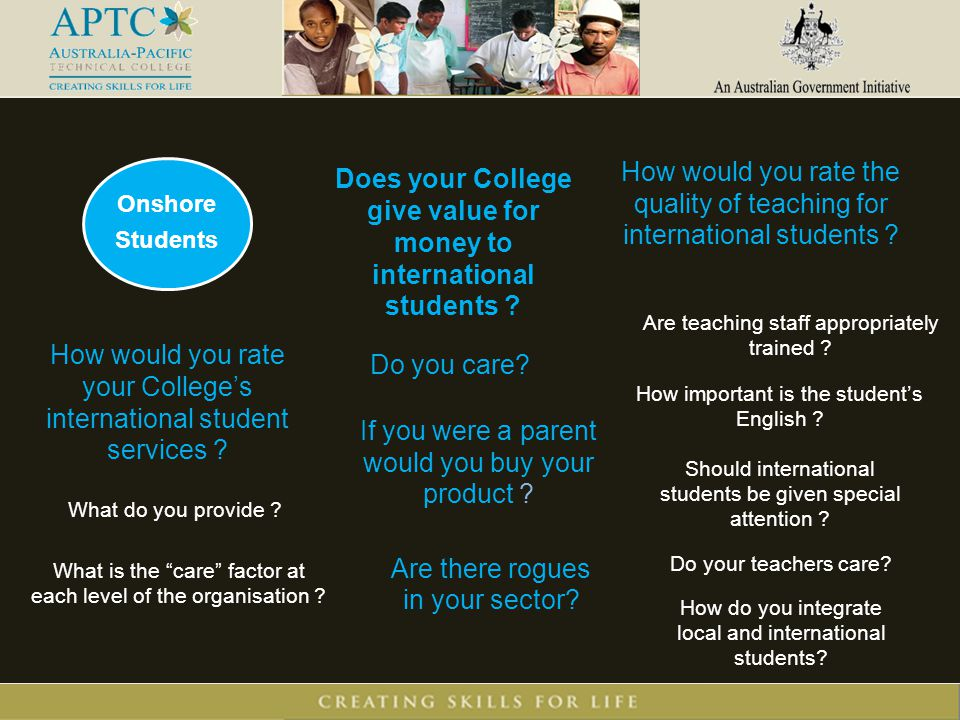 Onshore Students Does your College give value for money to international students .