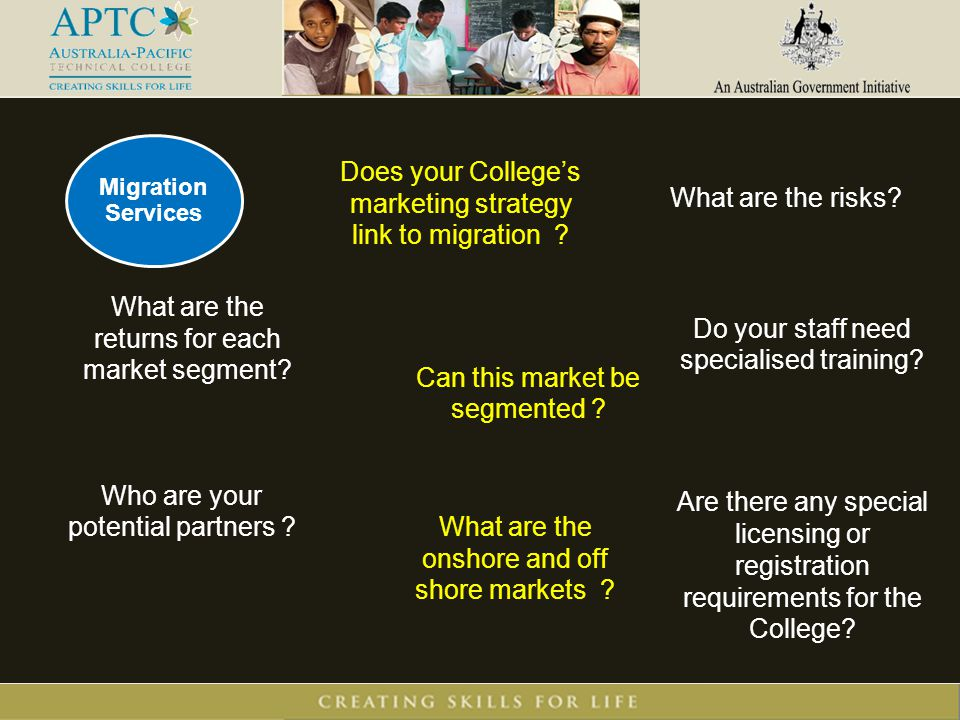Does your College's marketing strategy link to migration .