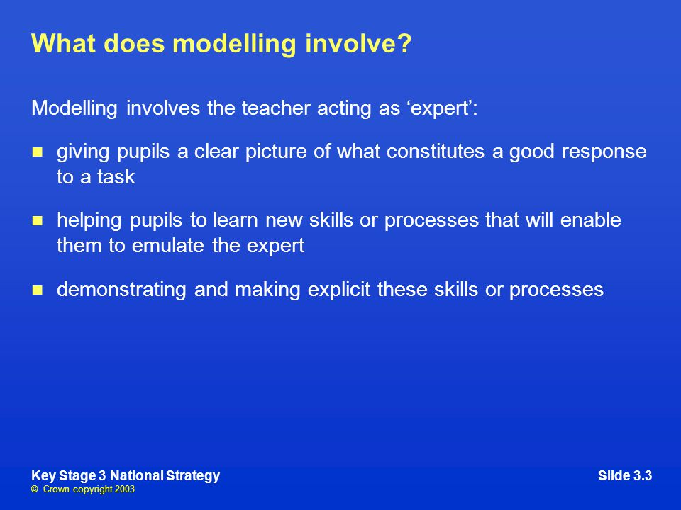 © Crown copyright 2003 Key Stage 3 National StrategySlide 3.3 What does modelling involve.
