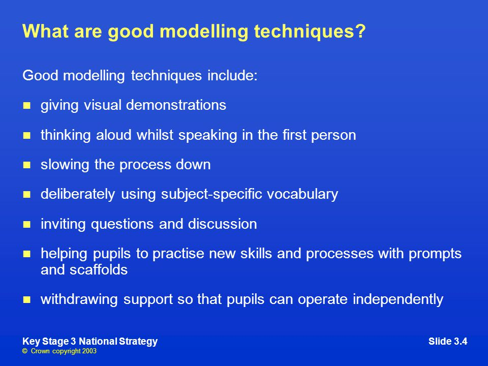© Crown copyright 2003 Key Stage 3 National StrategySlide 3.4 What are good modelling techniques.
