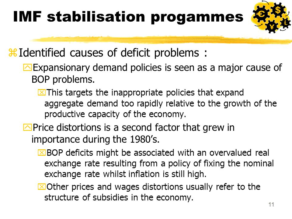 11 IMF stabilisation progammes zIdentified causes of deficit problems : yExpansionary demand policies is seen as a major cause of BOP problems.