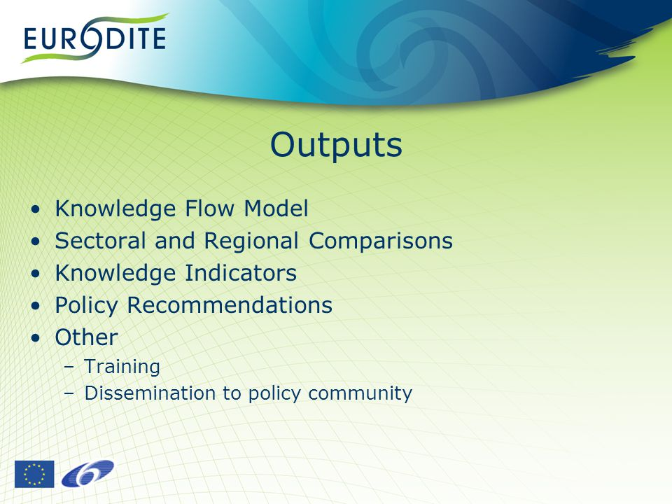 Outputs Knowledge Flow Model Sectoral and Regional Comparisons Knowledge Indicators Policy Recommendations Other –Training –Dissemination to policy community
