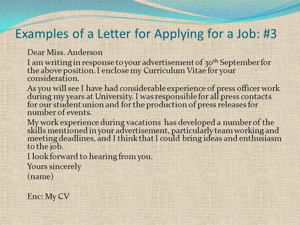 Examples of a Letter for Applying for a Job: #3 Dear Miss.