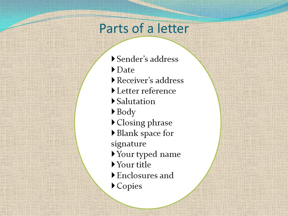 Parts of a letter  Sender's address  Date  Receiver's address  Letter reference  Salutation  Body  Closing phrase  Blank space for signature  Your typed name  Your title  Enclosures and  Copies