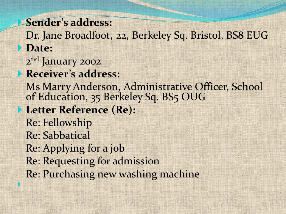  Sender's address: Dr. Jane Broadfoot, 22, Berkeley Sq.
