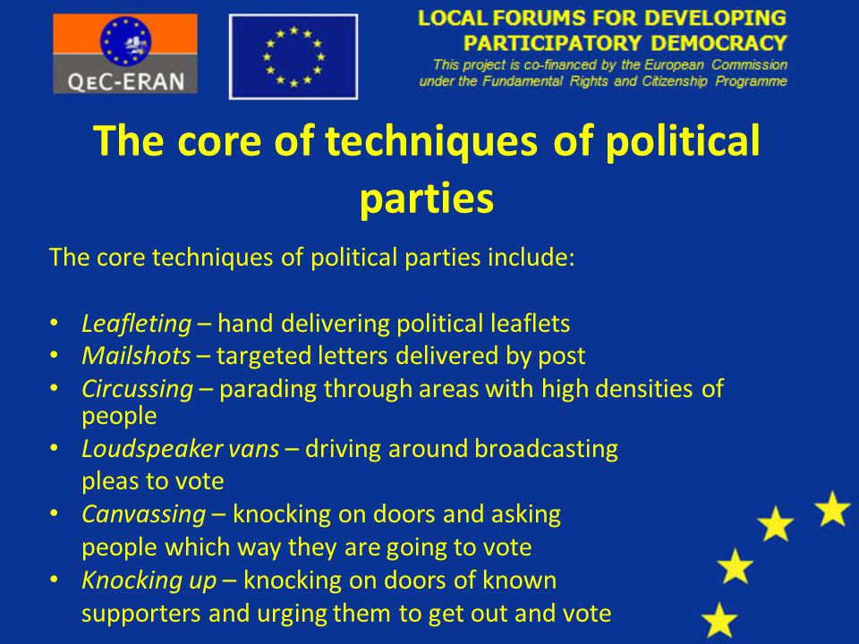 The core of techniques of political parties The core techniques of political parties include: Leafleting – hand delivering political leaflets Mailshots – targeted letters delivered by post Circussing – parading through areas with high densities of people Loudspeaker vans – driving around broadcasting pleas to vote Canvassing – knocking on doors and asking people which way they are going to vote Knocking up – knocking on doors of known supporters and urging them to get out and vote