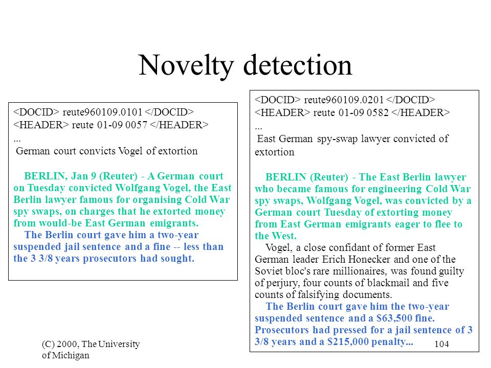 (C) 2000, The University of Michigan 104 Novelty detection reute960109.0101 reute 01-09 0057... German court convicts Vogel of extortion BERLIN, Jan 9