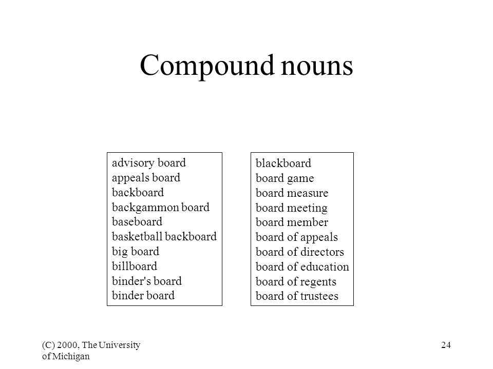 (C) 2000, The University of Michigan 24 Compound nouns advisory board appeals board backboard backgammon board baseboard basketball backboard big boar