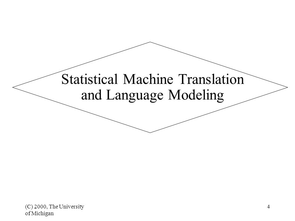 (C) 2000, The University of Michigan 4 Statistical Machine Translation and Language Modeling