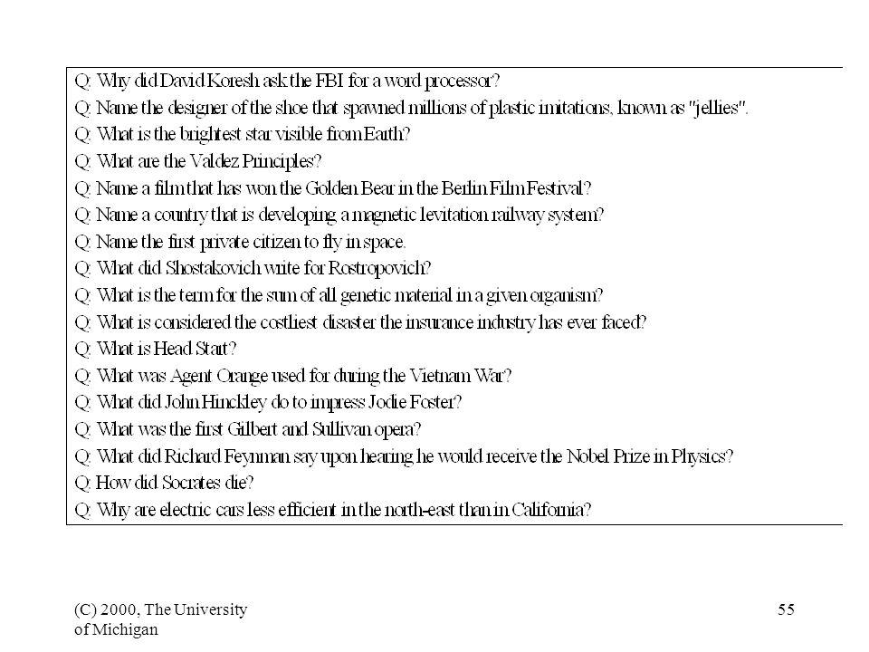 (C) 2000, The University of Michigan 56 The TREC evaluation Document retrieval Eight years Information retrieval.
