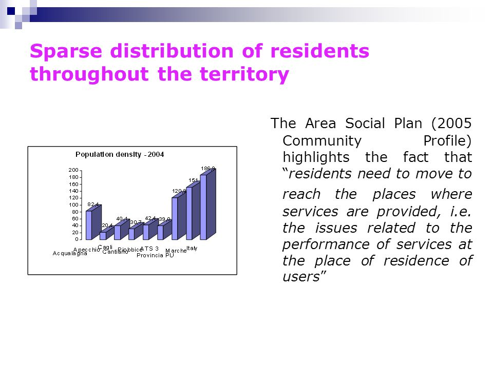 Sparse distribution of residents throughout the territory The Area Social Plan (2005 Community Profile) highlights the fact that residents need to move to reach the places where services are provided, i.e.