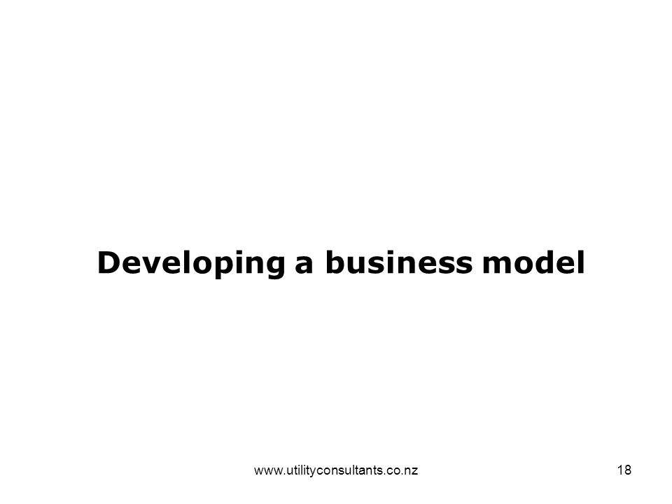 www.utilityconsultants.co.nz18 Developing a business model