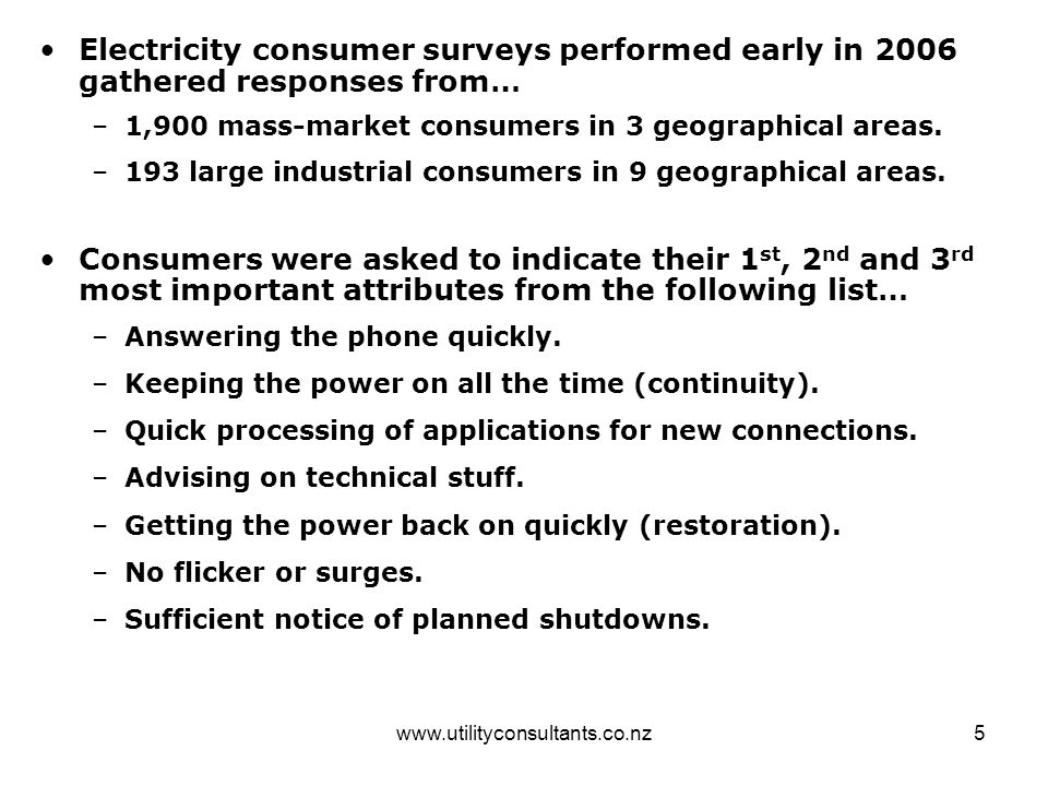 www.utilityconsultants.co.nz5 Electricity consumer surveys performed early in 2006 gathered responses from… –1,900 mass-market consumers in 3 geographical areas.