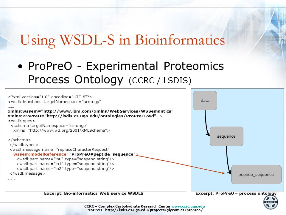 Using WSDL-S in Bioinformatics ProPreO - Experimental Proteomics Process Ontology (CCRC / LSDIS) data sequence peptide_sequence Excerpt: ProPreO – process ontology <wsdl:definitions targetNamespace= urn:ngp …… xmlns:wssem= http://www.ibm.com/xmlns/WebServices/WSSemantics xmlns:ProPreO= http://lsdis.cs.uga.edu/ontologies/ProPreO.owl > <schema targetNamespace= urn:ngp xmlns= http://www.w3.org/2001/XMLSchema > ……......