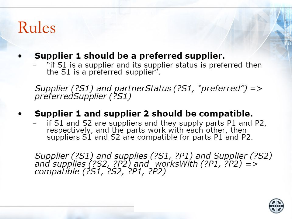 Rules Supplier 1 should be a preferred supplier.