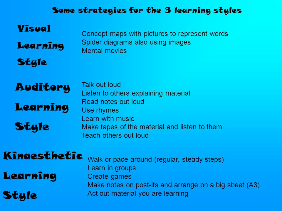 Some strategies for the 3 learning styles Concept maps with pictures to represent words Spider diagrams also using images Mental movies Talk out loud Listen to others explaining material Read notes out loud Use rhymes Learn with music Make tapes of the material and listen to them Teach others out loud Walk or pace around (regular, steady steps) Learn in groups Create games Make notes on post-its and arrange on a big sheet (A3) Act out material you are learning Visual Learning Style Auditory Learning Style Kinaesthetic Learning Style
