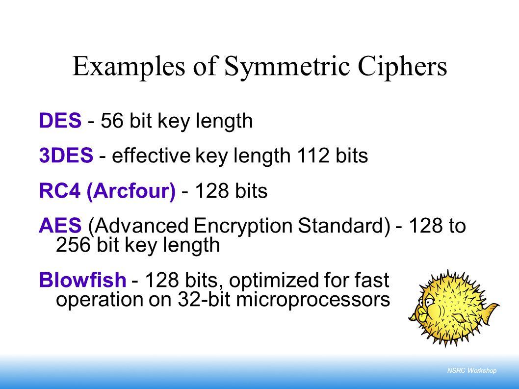NSRC Workshop Examples of Symmetric Ciphers DES - 56 bit key length 3DES - effective key length 112 bits RC4 (Arcfour) - 128 bits AES (Advanced Encryp
