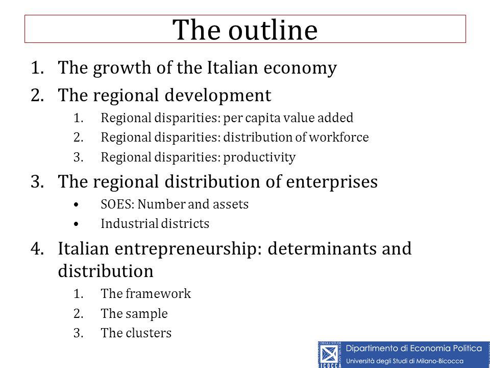 The outline 1.The growth of the Italian economy 2.The regional development 1.Regional disparities: per capita value added 2.Regional disparities: dist