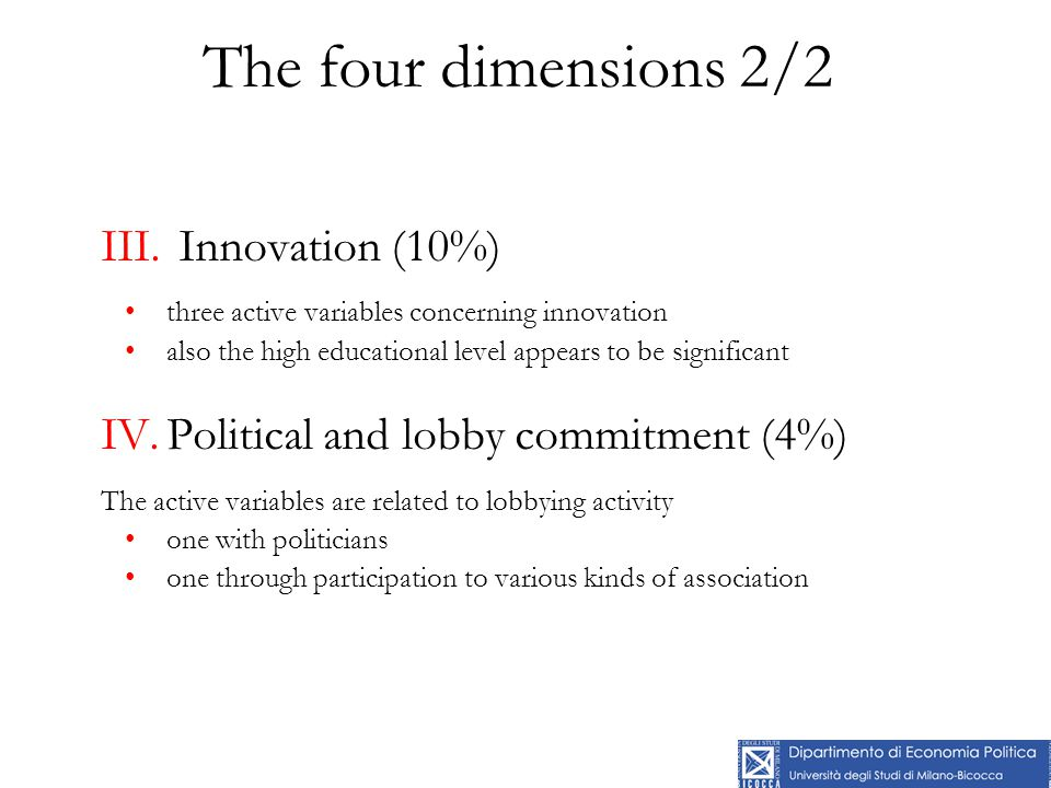 The four dimensions 2/2 III. Innovation (10%) three active variables concerning innovation also the high educational level appears to be significant I
