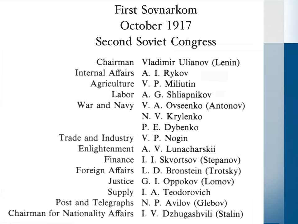 The Constituent Assembly Already planned for Nov 12 th by Provisional Government –Hypocritical if Bolsheviks cancel them However, they could load the dice… –How?