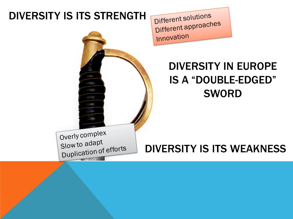 DIVERSITY IS ITS STRENGTH DIVERSITY IN EUROPE IS A DOUBLE-EDGED SWORD DIVERSITY IS ITS WEAKNESS Different solutions Different approaches Innovation Different solutions Different approaches Innovation Overly complex Slow to adapt Duplication of efforts Overly complex Slow to adapt Duplication of efforts