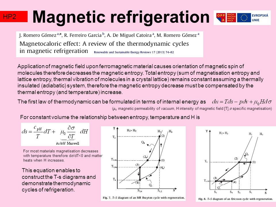 Magnetic refrigeration TZ2HP2 Application of magnetic field upon ferromagnetic material causes orientation of magnetic spin of molecules therefore decreases the magnetic entropy.