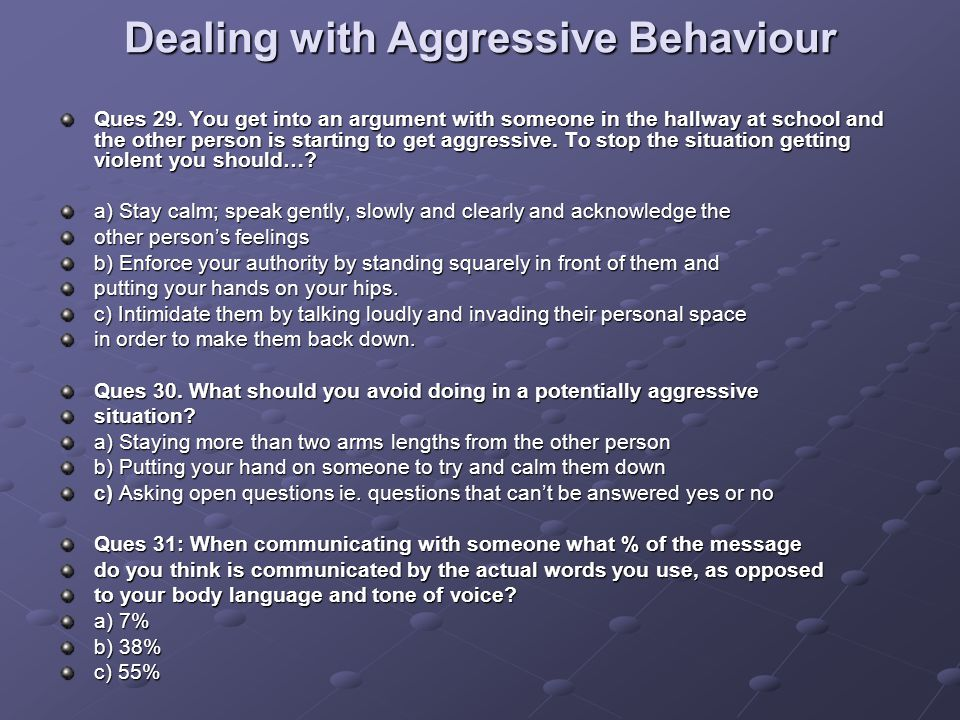 Dealing with Aggressive Behaviour Ques 29.