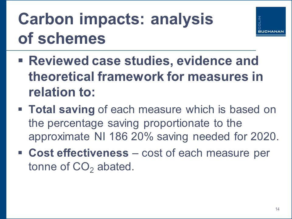 14 Carbon impacts: analysis of schemes  Reviewed case studies, evidence and theoretical framework for measures in relation to:  Total saving of each measure which is based on the percentage saving proportionate to the approximate NI 186 20% saving needed for 2020.