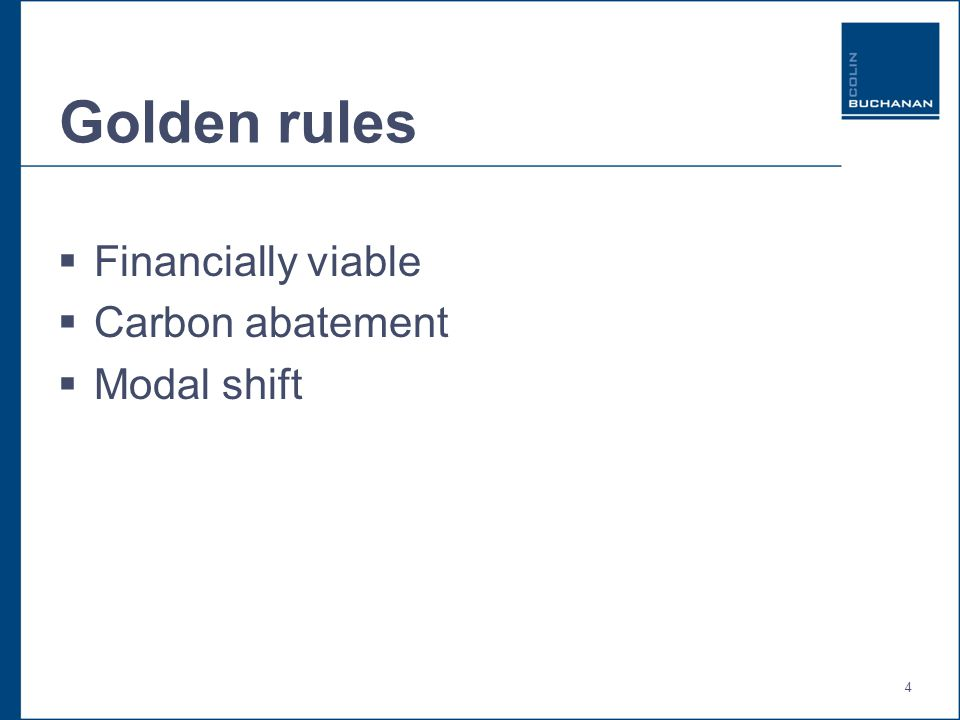 4 Golden rules  Financially viable  Carbon abatement  Modal shift